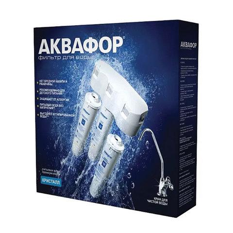 """Фильтр для воды АКВАФОР """"Кристалл Н"""", для холодной воды, 3 ступени, ресурс 6000 л, кран в комплекте"""