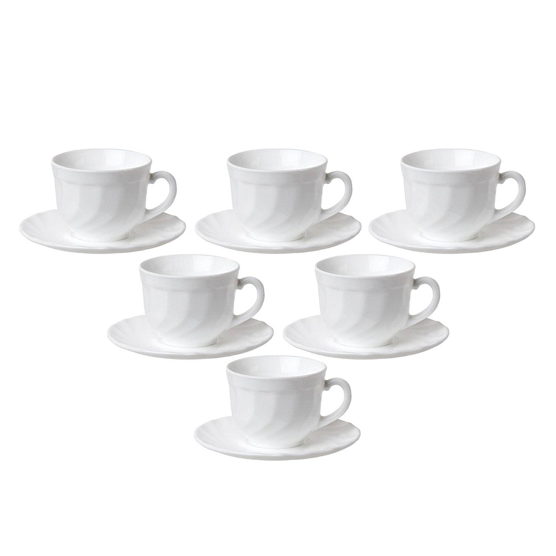 """Набор чайный на 6 персон, 6 чашек объемом 220 мл и 6 блюдец, белое стекло, """"Trianon"""", LUMINARC, E8845"""