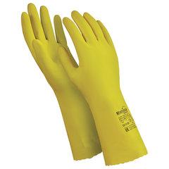 """Перчатки латексные MANIPULA """"Блеск"""", хлопчатобумажное напыление, размер 9-9,5 (L), желтые, L-F-01"""