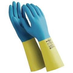 """Перчатки латексно-неопреновые MANIPULA """"Союз"""", хлопчатобумажное напыление, размер 8-8,5 (M), синие/желтые, LN-F-05"""