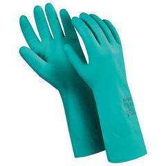 """Перчатки нитриловые MANIPULA """"Дизель"""", хлопчатобумажное напыление, размер 8 (M), зеленые, N-F-06"""