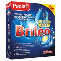 "Таблетки для мытья посуды в посудомоечных машинах 25 шт., PACLAN Brileo ""All in one Gold"""