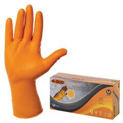 Перчатки нитриловые повышенной прочности с удлиненной манжетой, КОМПЛЕКТ 25 пар, размер M (средний), E-DUO, оранжевые