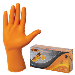 Перчатки нитриловые повышенной прочности с удлиненной манжетой, КОМПЛЕКТ 25 пар, размер L (большой), E-DUO, оранжевые