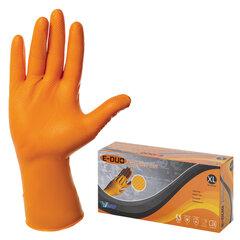 Перчатки нитриловые повышенной прочности с удлиненной манжетой, КОМПЛЕКТ 25 пар, размер XL (очень большой), E-DUO, оранжевые