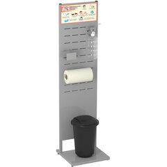 Стойка дезинфекции 1,5 м (локтевой дозатор, держатель полотенца ведро для мусора) серая, 607564