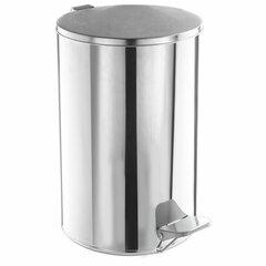 Ведро для мусора с педалью, УСИЛЕННОЕ, ТИТАН, 20 литров, кольцо под мешок, нержавеющая сталь, хром