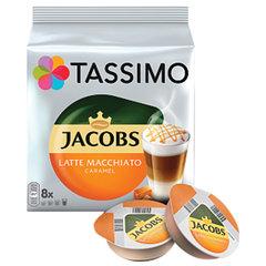 "Капсулы для кофемашин TASSIMO JACOBS ""Latte Macchiato Caramel"", натуральный кофе 8 шт. х 8 г, молочные капсулы 8 шт. х 21,7 г"