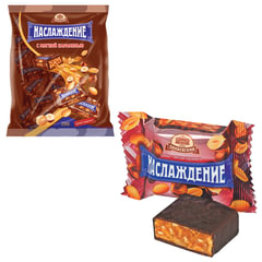 """Конфеты шоколадные БАБАЕВСКИЙ """"Наслаждение"""", мягкая карамель с орехами, 250 г, пакет"""