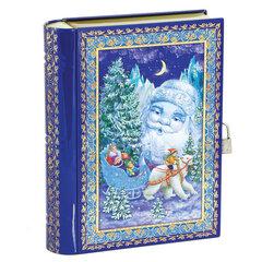 """Подарок новогодний """"Книга"""" с замочком, 800 г, НАБОР конфет, жестяная упаковка"""