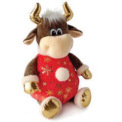 """Подарок новогодний """"Бычок в красном со снежинками"""", 1500 г, НАБОР конфет, мягкая игрушка"""