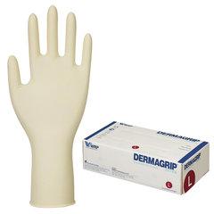 Перчатки латексные смотровые, КОМПЛЕКТ 25 пар (50 шт.), неопудренные, прочные, L, DERMAGRIP Extra