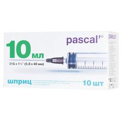 Шприц 3-х компонентный PASCAL, 10 мл, КОМПЛЕКТ 10 шт., в коробке, игла 0,8х40 - 21G