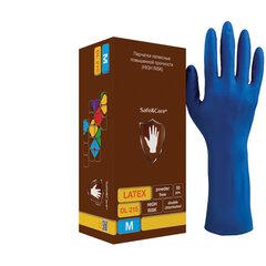 Перчатки латексные смотровые КОМПЛЕКТ 25 пар (50шт), повышенной прочности, размер M (средний),удлиненные, синие, SAFE&CARE High Risk, DL 215