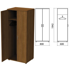 "Шкаф для одежды ""Этюд"", 800х600х1942 мм, орех (КОМПЛЕКТ)"