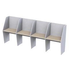 """Стол односторонний, 4 места, """"Call-центр"""", 3290х670х1418 мм, цвет серый/дуб шамони"""