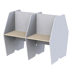 "Стол двусторонний, 4 места, ""Call-центр"", 1654х670х1418 мм, цвет серый/дуб шамони"