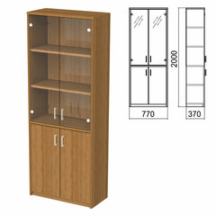 "Шкаф закрытый со стеклом ""Арго"", 770х370х2000 мм, орех (КОМПЛЕКТ)"